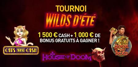 1.500 euros de cash et de bonus à gagner lors du tournoi WILDS  d'été