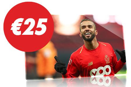 25 € de freebet en pariant sur Standard de Liège x Ostende