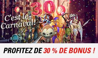 30% de bonus sur circus.be pour le carnaval