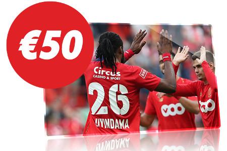 50 € de freebet en pariant sur Standard de Liège x Zulte-Waregem