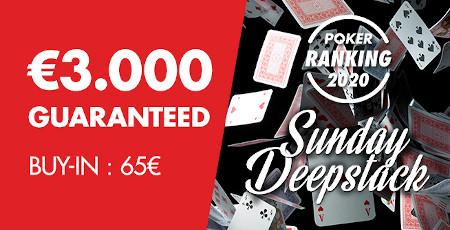 3.000 euros garantis pour le Sunday Deepstack du Grand Casino de Namur