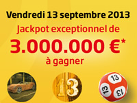 3.000.000 €* au Super Lotto du vendredi 13 septembre sur e-Lotto.be
