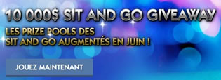 10.000 $ à remporter sur les tables de Sit and Go Giveaway