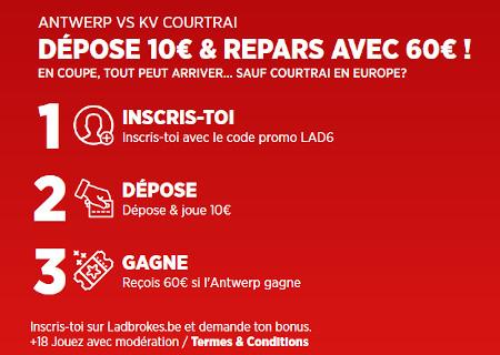Gagnez 6 fois votre mise si Antwerp gagne face à Courtrai avec Ladbrokes