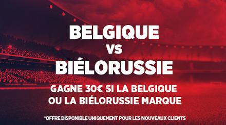 Belgique x  Biélorussie: Triplez votre mise si un but est marqué avec Ladbrokes