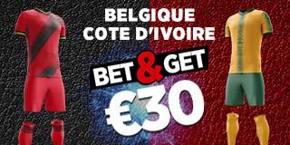 Belgique x Cote d'Ivoire: Pariez 10 € sur la victoire des Diables rouges et gagnez 30 €
