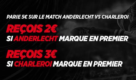 Course au but: Recevez du cash en pariant sur le premier buteur  du choc Anderlecht x Charleroi