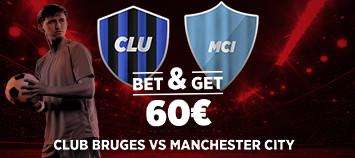 FC Bruges x Manchester City: 3 fois votre mise si les Gazelles marquent avec Ladbrokes