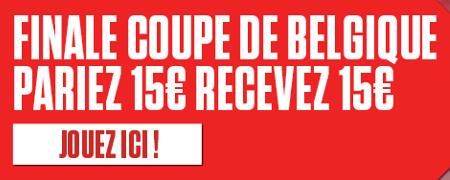 Finale de la Coupe de Belgique: Gagnez un pari live gratuit de 15 € sur Ladbrokes