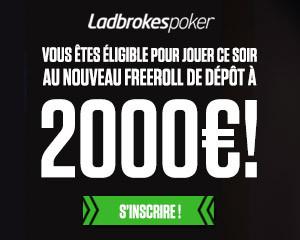 Gagnez une part des 2.000 € en déposant pour la première fois sur Ladbrokes Poker