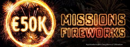50.000 € missions fireworks : participez à 40 freerolls pour 50.000 €