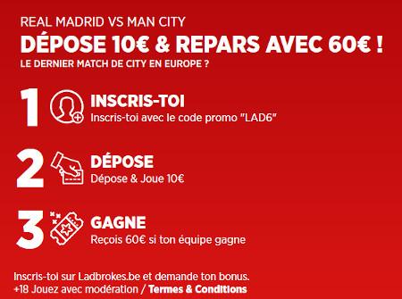 Gagnez 6 fois votre mise sur le match Real Madrid x Manchester City avec Ladbrokes
