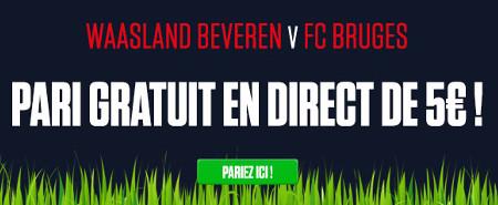 Waasland Beveren x FC Bruges: Recevez un pari gratuit de 5 €