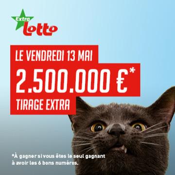 2,5 millions à gagner ce vendredi 13 mai au Lotto