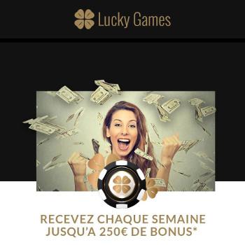 Nouveaux bonus de fidélité sur LuckyGames.be : 250 € par semaine