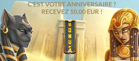 Bonus de 10 € pour votre anniversaire sur LuckyGames
