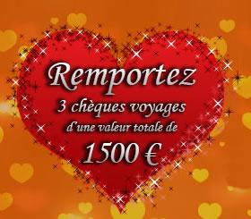 Tournois de la Saint-Valentin : 3 voyages pour 1.500 € à gagner au casino MagicWins.be