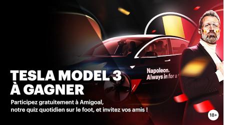 Amigoal Euro2020: Gagnez une Tesla Model 3  avec le bookmaker Napoleon