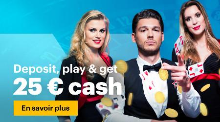 Déposez et jouez sur le Live Casino pour gagner un bonus de 25  €