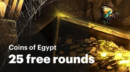 25 parties gratuites à gagner sur Coins of Egypt