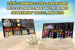 Bonus de 250 € (max 25%) offert par la salle de jeux SuperGame