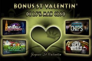 Bonus Saint Valentin 25 % / 250 € sur supergame.be
