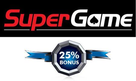 Profitez d'un bonus de 25% sur SuperGame.be