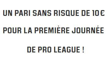 Profitez d'un pari sans risque de 10 euros pour la reprise de la Pro League