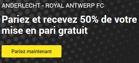 50 % de freebet sur la Jupiler Pro League