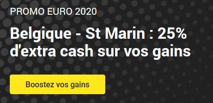 25% en plus sur le match Belgique x Saint-Marin