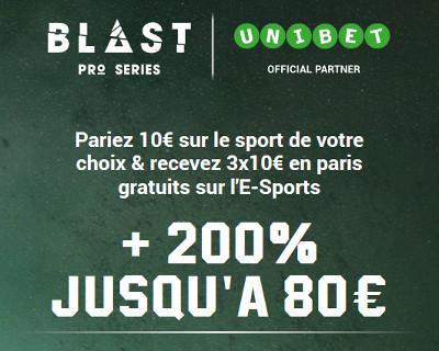Rejoignez Unibet.be et recevez 3 paris gratuits sur l'e-Sports