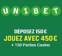 Déposez 150 € et jouez avec 450 € sur Unibet Casino