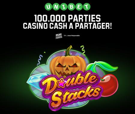 100.000 parties casinos cash à gagner sur Unibet