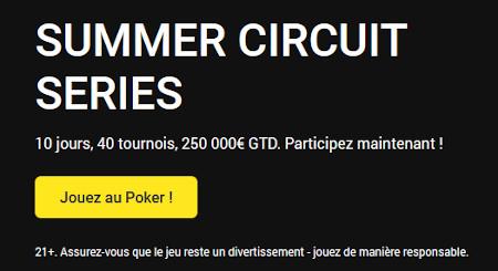 250.000 euros garantis pour les Summer Circuit Series d'Unibet