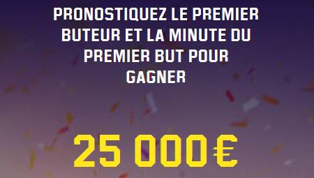 Predictor : Trouvez le premier buteur et la minute du  premier but pour 25.000 euros