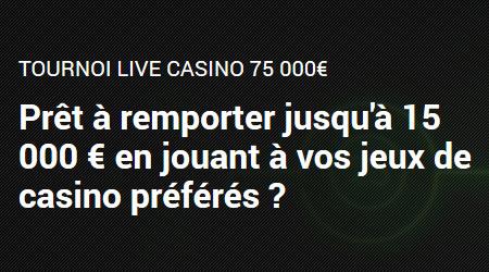 Tournoi Live Casino : 75.000 euros à gagner sur Unibet.be