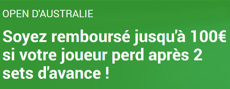 Open d'Australie : Moneyback sur Unibet.be