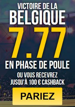 Cote de 7.77 pour la victoire de la Belgique en phase de groupe sur Bet777