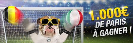 1.000 € pour le pari 1er buteur lors du match Belgique x Italie