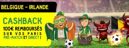 Belgique x Irlande: 100 € remboursés sur vos paris pré-match et direct
