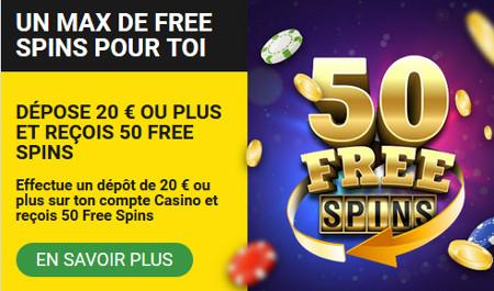 50 free spins en guise de bonus de dépôt sur le casino Betfirst