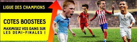 Cotes boostées pour la Ligue des Champions sur betFirst.be