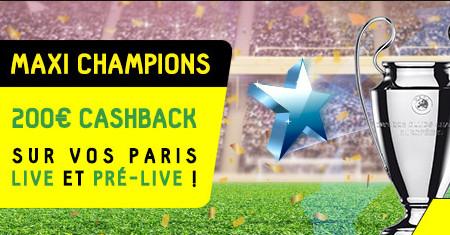 200 € de cashback sur les paris Ligue des Champions live et pré-live