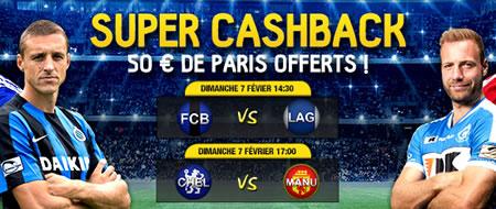 50 € de cashback sur Bruges x La Gantoise et Chelsea x Manchester United