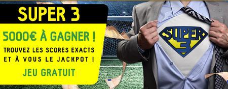 5.000 euros à gagner avec le Super 3 (3 bons résultats pronostiqués)