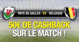50 € de moneyback pour Pays de Galles x Belgique sur betFirst