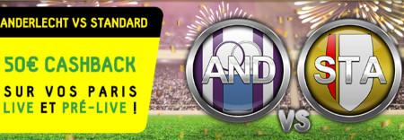 Anderlecht x Standard de Liège: Profitez d'un cashback de 50 €