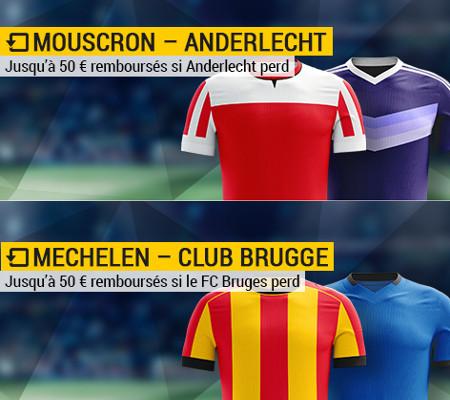 50 euros rembourses si Anderlecht ou le FC Bruges perdent