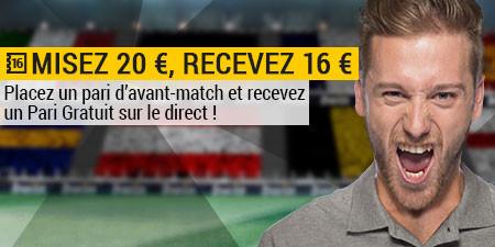 16 € de pari live offert pour Belgique x Irlande sur bwin