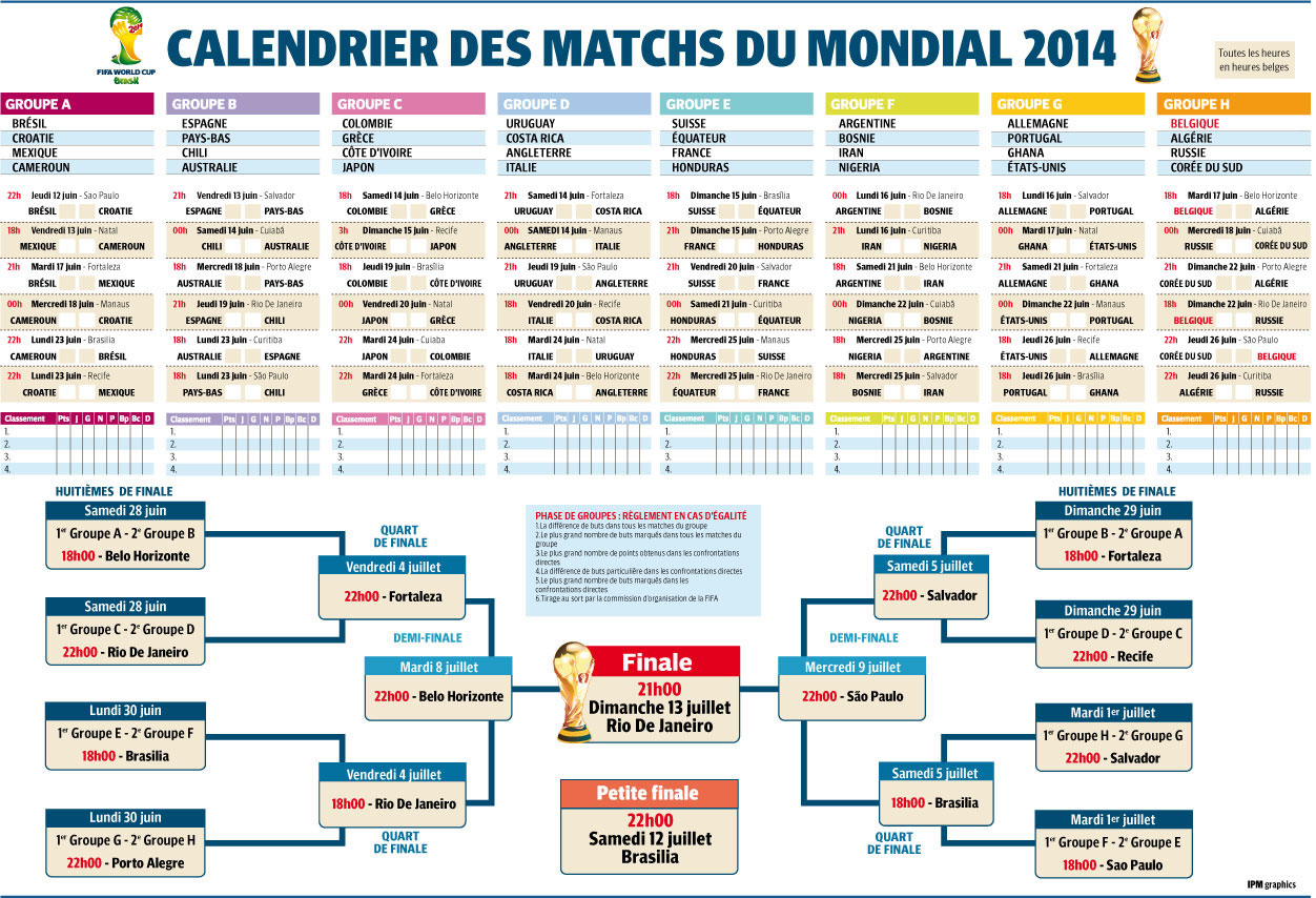 calendrier des matches de la coupe du monde 2014 au br sil. Black Bedroom Furniture Sets. Home Design Ideas